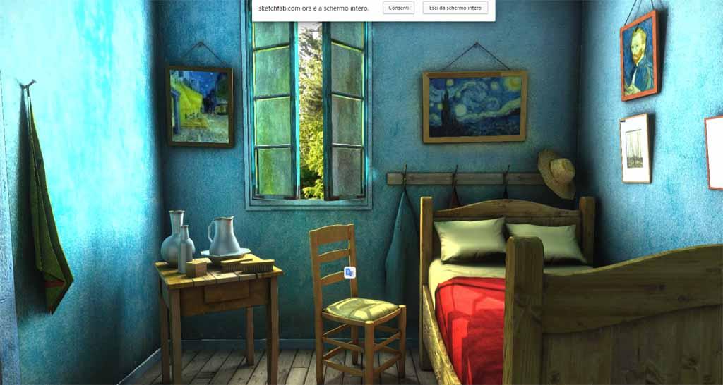 Modello 3d della settimana camera da letto impressionista dal dipinto di vincent van gogh - Camera da letto van gogh ...