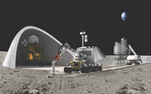 """MANDATORY CREDIT: *see individual credit*/Rex Features. Only for use in story about Contour Crafting work. Editorial Use Only. No stock, books, advertising or merchandising without photographer's permission Mandatory Credit: Photo by NASA/REX (3502995a) Contour Crafting NASA concept for Lunar settlement infrastructure Contour Crafting allows robots to print houses on Earth and the moon - 14 Jan 2014 FULL COPY: http://www.rexfeatures.com/nanolink/oh4o Building a home could soon be a matter of pressing a button and letting a robot 'print' the structure. A process called Contour Crafting allows computer-controlled machines to build houses within 24 hours. The layered fabrication technology sees concrete applied in a pre-determined design by a nozzle on a moveable gantry. (VIDEO: http://bit.ly/1eIHGmP) Aside from creating more elaborate buildings, the innovation could have applications in building simple homes in disaster zones or slum areas. NASA are also supporting the development of the design to create command bases on the moon, utilising lunar soil as the material for the concrete. Speaking on Tuesday (14 Jan), Dr Khoshnevis said: """"The NASA project is on-going. We are also advancing in the housing application as well as in construction of special structures."""""""