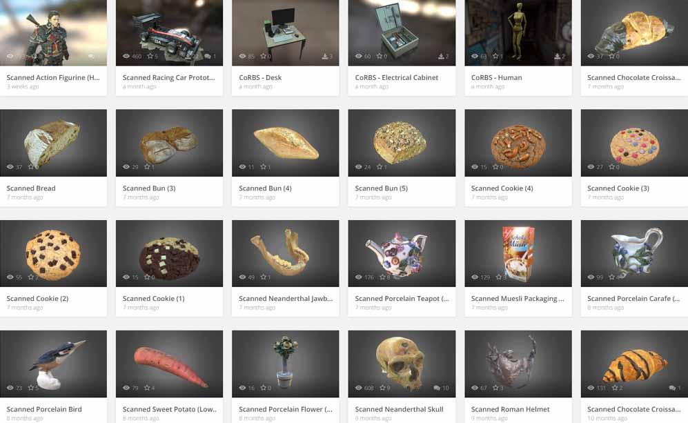 galleria scansioni 3d di 3digify su sketchfab.com