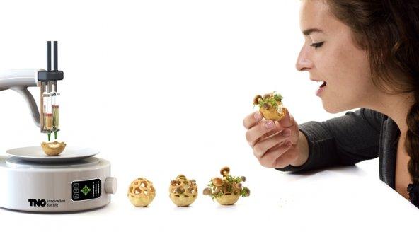 snack stampati in 3d con germogli a crescita controllata