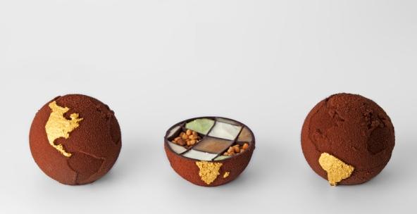 cioccolatini a forma di globo stampati in 3d