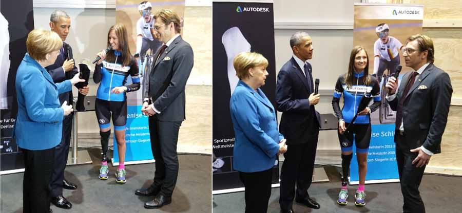 Schindler e di Autodesk Roland Zelles si incontrano con il presidente Obama e il cancelliere tedesco Merkel al Hannover Messe 2016.