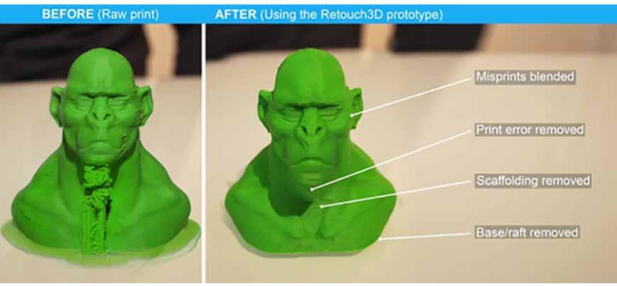 Il Retouch3D smussando le imperfezioni su un modello 3D stampato.