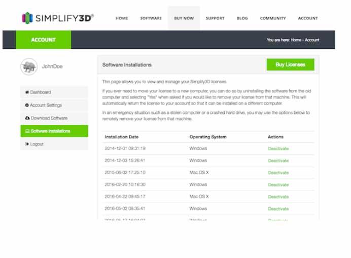 Gestione licenze di Simplify3D