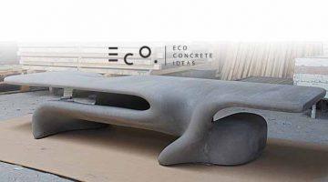 Panchina Morpheus in cemento realizzata con cassaforma in cartone stampato in 3D