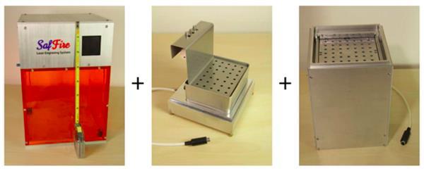 SAFFIRE unità laser principale, piccolo accessorio per la stampa 3D, e accessorio per la stampa di grandi dimensioni 3D