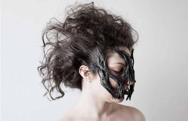 Maschera creata con Collagene Mask Editor e Windform per la Milano Design Week 2017
