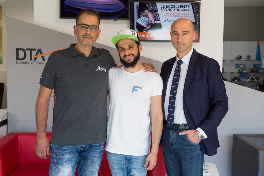da sinistra: MarcoAvaro Ingegnere MeccanicoBiomedico, Fabio Secci AtletaParalimpico, Roberto Ciotti CEO porzioGroup