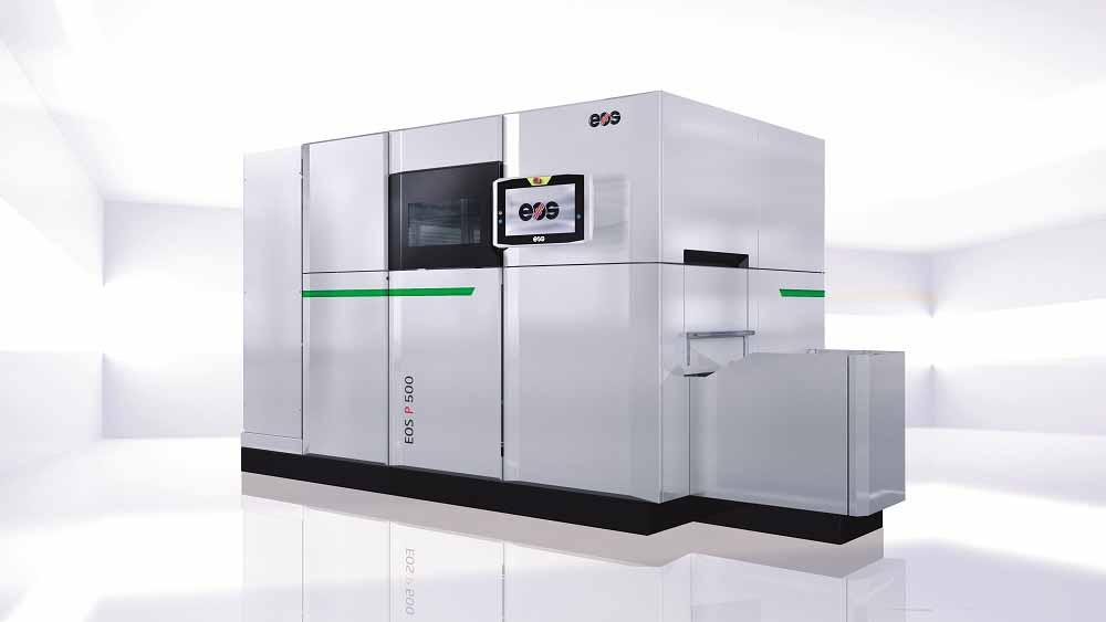 EOS P 500 è una piattaforma di produzione predisposta per l'automazione destinata alla sinterizzazione laser dei componenti plastici su scala industriale