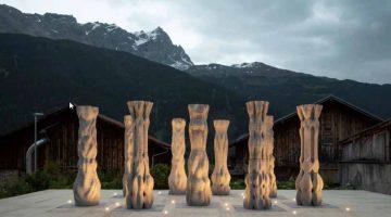 Incredibile Scenografia in calcestruzzo stampata in 3D al  Festival di Origene nelle Alpi svizzere