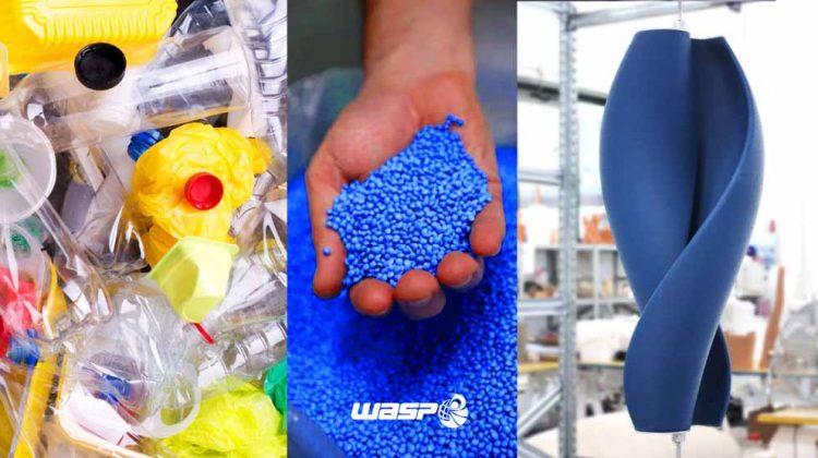 WASP e le  pale eoliche stampate in 3D con plastica riciclata al Maker Faire di Roma