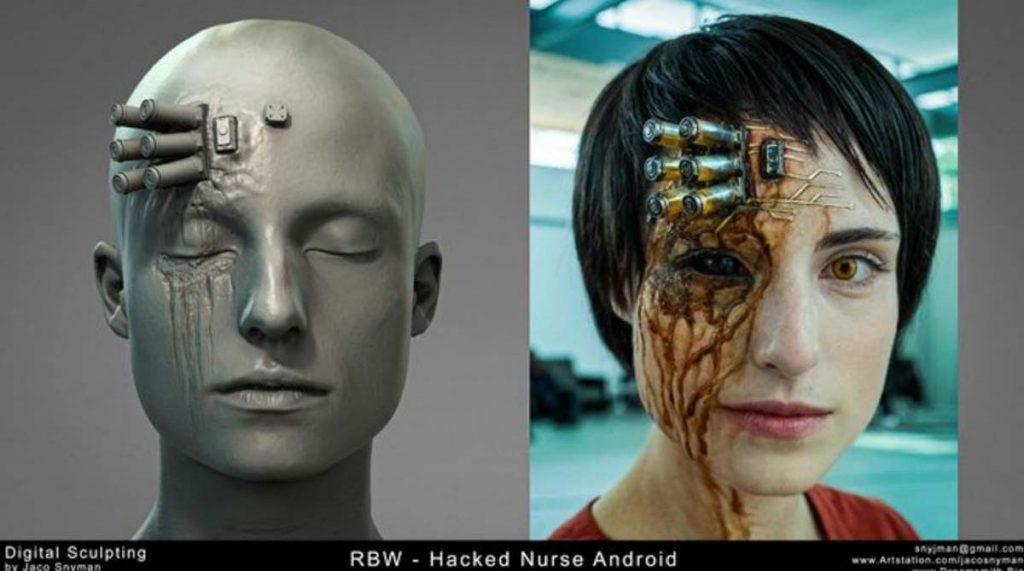 Immagine: androide con protesi in Raised by Wolves. Scultura digitale a sinistra e protesi finale a destra.